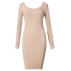 Shoespie Plain Round Neck Simple Women's Bodycon Dress