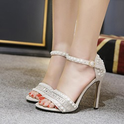Rhinestone Beads Open Toe Sexy Stiletto Heels
