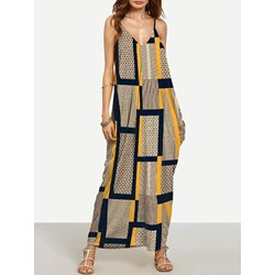 Shoespie Casual V Neck Print Women's Maxi Dress