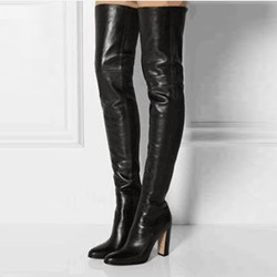 Shoespie Pointed Toe Sexy Black Thigh High Boots
