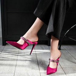 Rose Pointed Toe Sexy Stiletto Mules