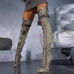 Buckle Peep Toe Lace-Up Front Sexy Thigh High Boots