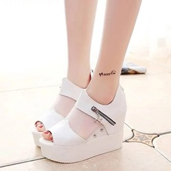 Zipper Hidden Elevator Heel Peep Toe Wedge Heels