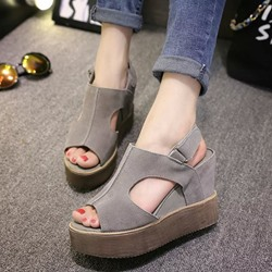 Velcro Platform Peep Toe Wedge Sandals