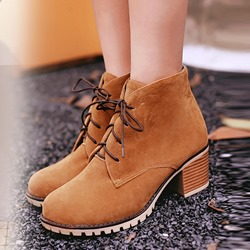 Shoespie Round Toe Lace-Up Martin Boots
