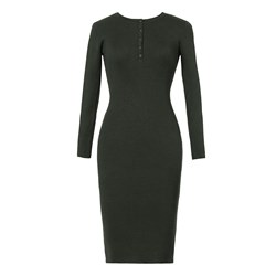 Shoespie Plain Button Pullover Women's Bodycon Dress