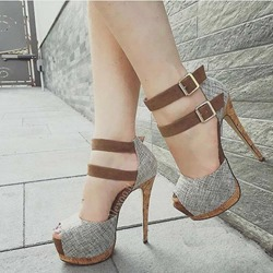 Gray Peep Toe Buckle Stiletto Heels