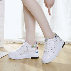 Hollow Platform Lace-Up Wedge Sneakers