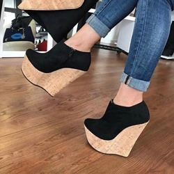 Shoespie Black Casual Zipper Wedge Heels