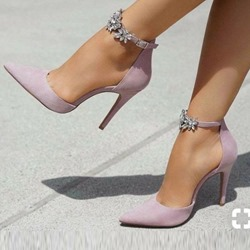 Purple Pointed Toe Rhinestone Line-Style Buckle Stiletto Heels