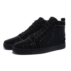 Black Lace-Up High Upper Men's Sneakers