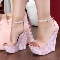 Shoespie Platform Pink Line-Style Buckle Wedge Sandals