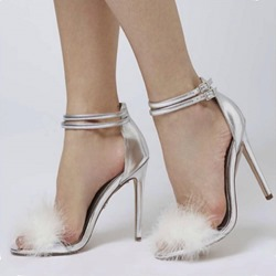 Silver Line-Style Buckle Heel Covering Heel Sandals