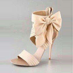Bow Light Apricot High Upper Zipper Stiletto Heels