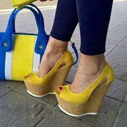Yellow Slip-On Peep Toe Wedge Heels