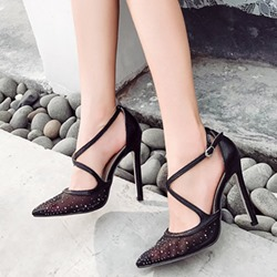 Rhinestone Pointed Toe Buckle Stiletto Heels