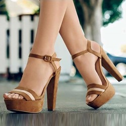 Camel Open Toe Ankle Strap Buckle High Heels