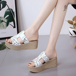 Print Platform Slip-On Wedge Sandals