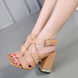 Beads Open Toe Casual Buckle High Heels