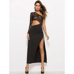 Shoespie Oblique Collar Sexy Women's Maxi Dress