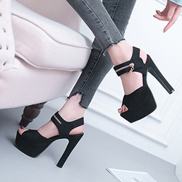 Black Peep Toe Platform Ankle Strap High Heels