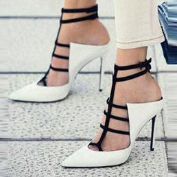 White Closed Toe Buckle Stiletto Heels