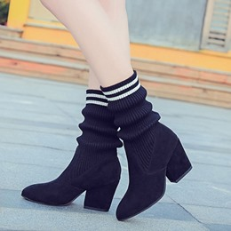 Black Pointed Toe Slip-On Casual Fashion Boots