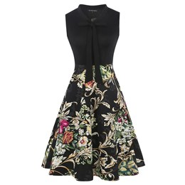 Shoespie Patchcwork Print Bowknot Women's Skater Dress