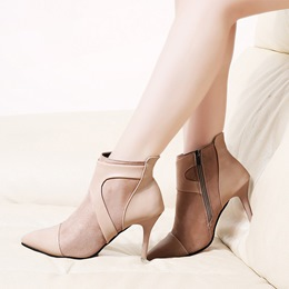 Pointed Toe Casual Side Zipper Ankle Boots