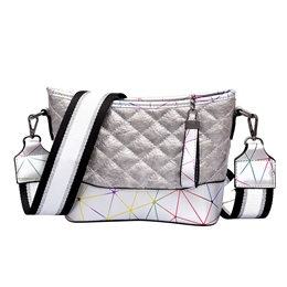Shoespie Barrel Shaped Plaid Color Block Handbag