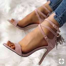 Light Purple Fringe Open Toe Buckle Stiletto Heels