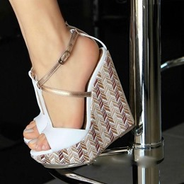 Shoespie White Buckle Strappy Wedge Heels
