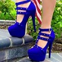 Blue Rivet T-Shaped Buckle Platform Stiletto Heels