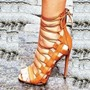 Light Brown Casual Lace-Up Stiletto Heels