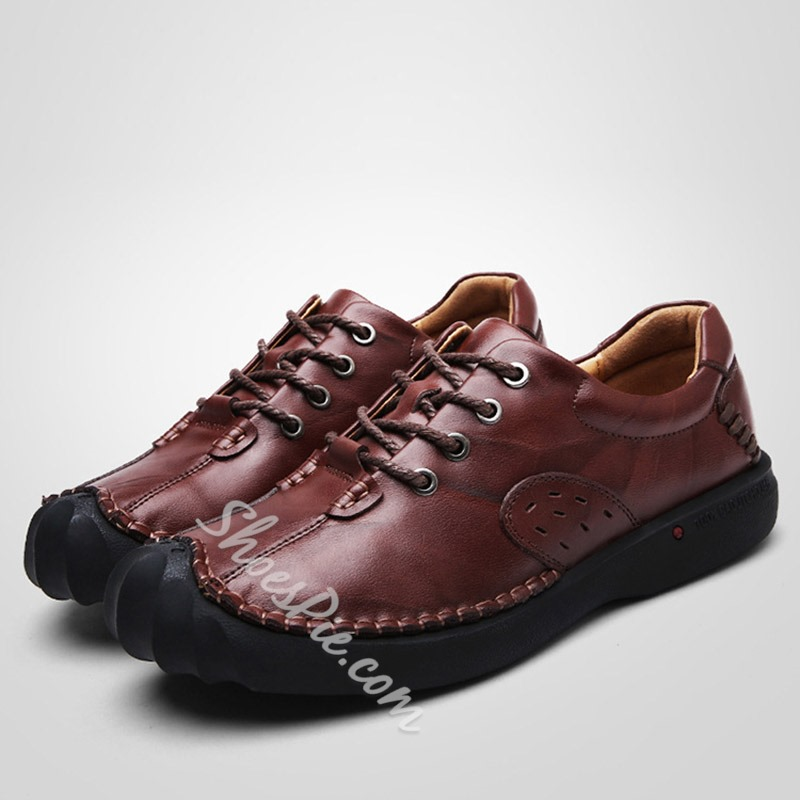 Thread Lace-Up Casual Men's Loafers