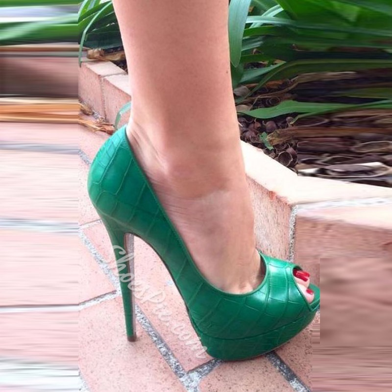 Shoespie Green Peep Toe Platform Stiletto Heels