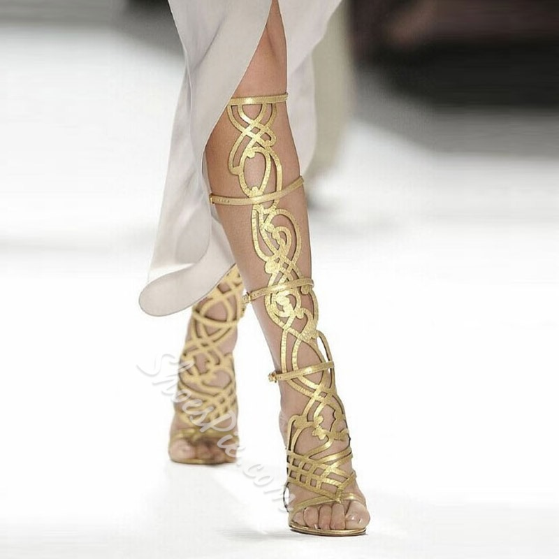 Hollow Thong Golden High Shaft Gladiator Sandals