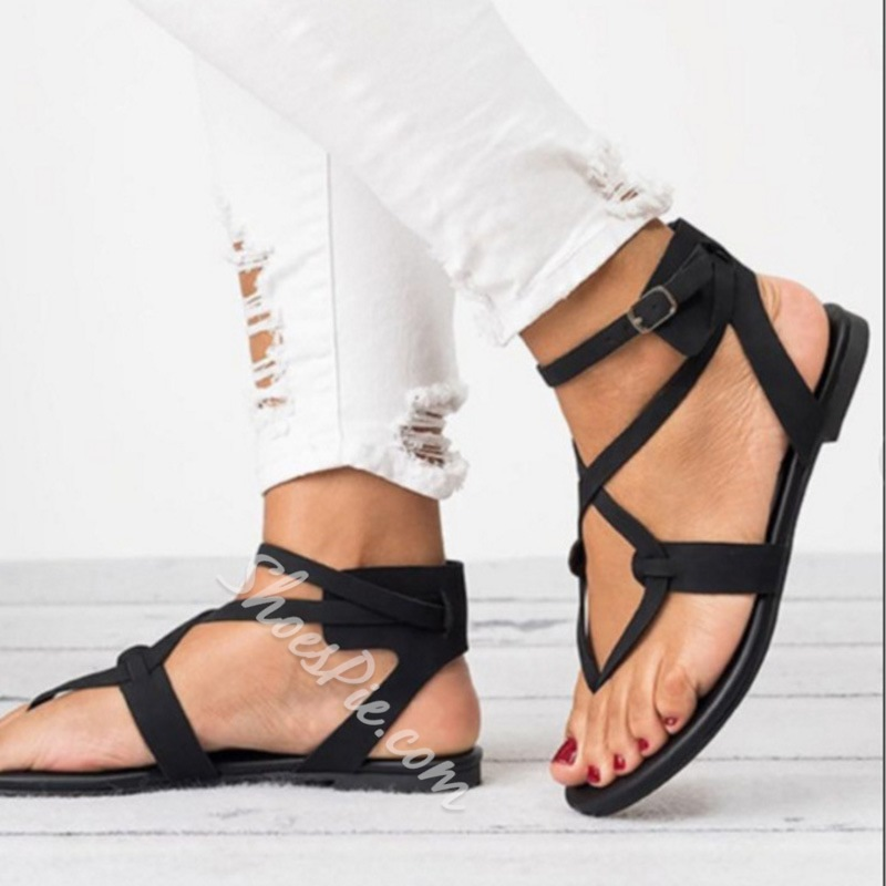 Shoespie Stylish Strappy Buckle Block Heel Flat Sandals
