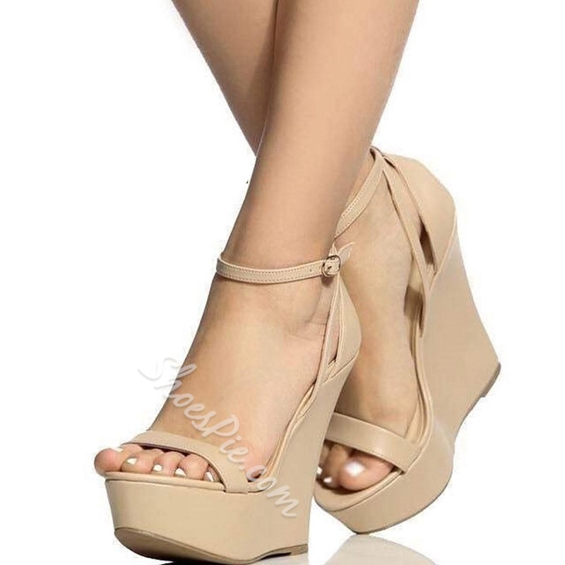 Light Apricot Line-Style Buckle Wedge Sandals