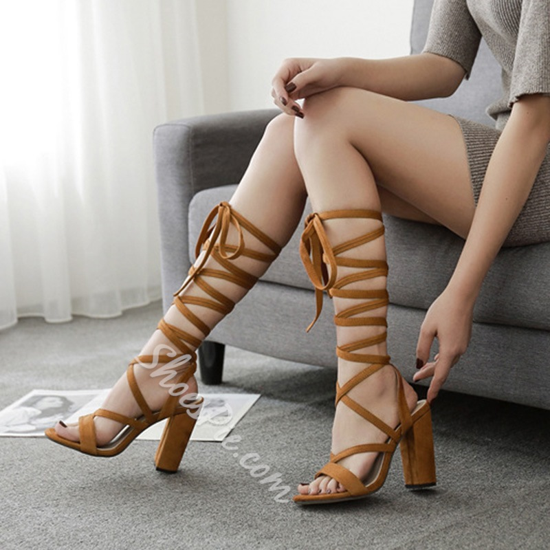 Lace Up Open Toe Ankle Strap Casual High Heels