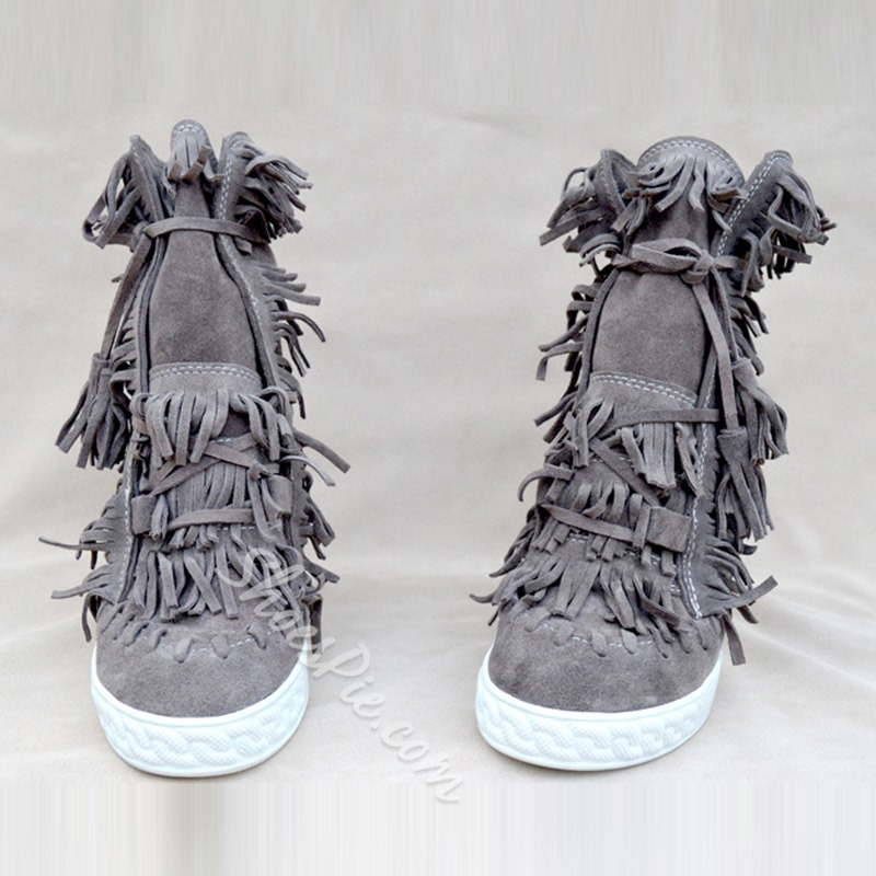 Fringe Lace-Up Front Casual Ankle Boots