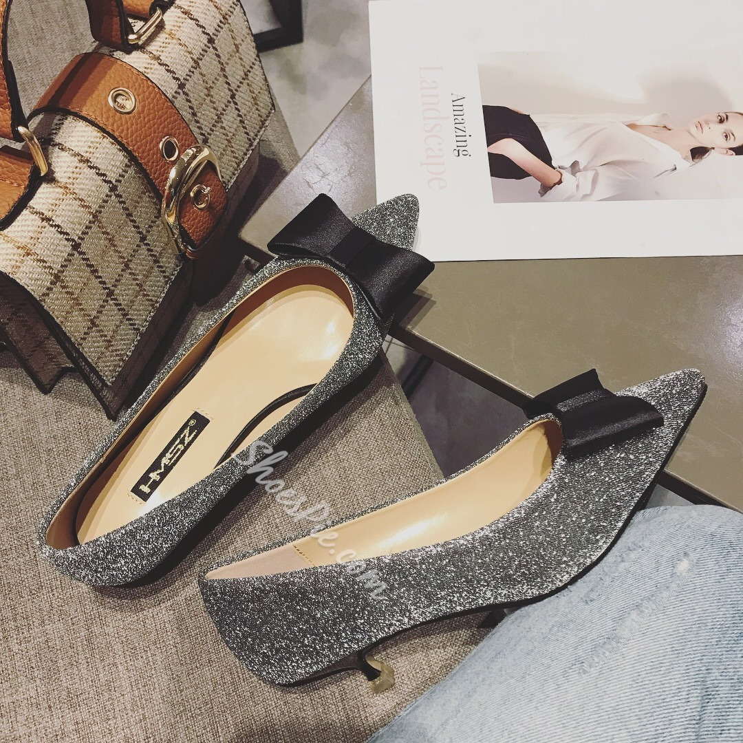 Shespie Bow Slip-On Stiletto Heels