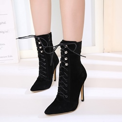 Shoespie Black Cross Strap Stiletto Heel Ankle Boots