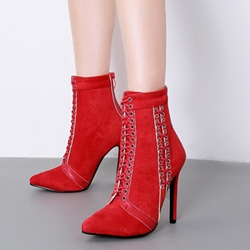 Suede Cross Strap Pointed Toe Stiletto Heel Ankle Boots