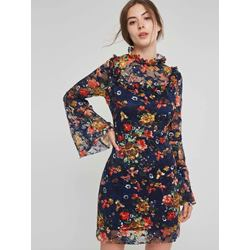 Button Long Sleeve Lace Floral Women's Bodycon Dress