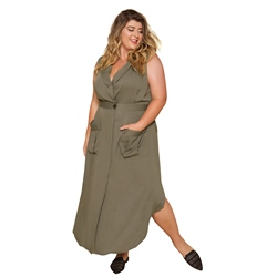 Plus Size V-Neck Sleeveless Notched Lapel Women's Dress