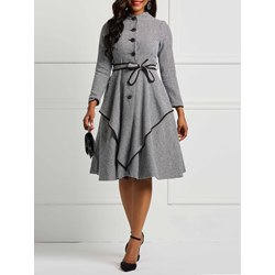 Polyester Regular Button Women's A-Line Dress