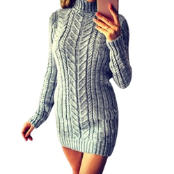 Turtleneck Thread Women's Bodycon Dress
