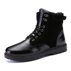 Shoespie Black Suede Flat Lace-Up Men's Martin Boots