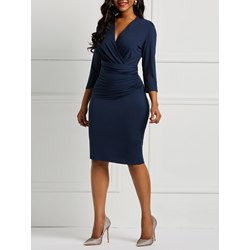 Knee-Length Pleated V-Neck Pencil Women's Bodycon Dress